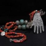 Berber Necklace – Old Hand of Fatima – Mediterranean Coral – Morocco