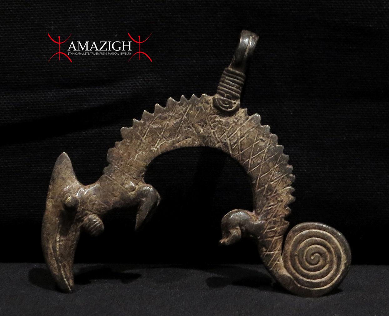 Lobi Bronze Amulet - Chameleons - Burkina Faso - AMAZIGH
