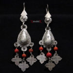Berber Earrings – Silver and Mediterranean Coral – Morocco