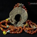 Lobi Bronze Necklace – Chameleons – Bronze, Agate, Venetian Beads – Burkina Faso