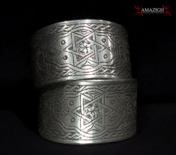 Massive Pair Berber Bracelets – Seal of Solomon, Hands, Crescent – Tunisia