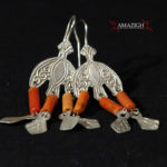 Old Berber Earrings – Hilal – Silver and Mediterranean Coral – Morocco