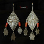 Old Berber Earrings – Hands of Fatima and Mediterranean Coral – Morocco