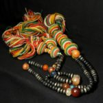 Outstanding Old Large Chaplet – Tasbih – Ebony Beads Silver Inlaid – Mauritania