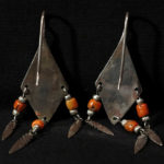 Old Berber Earrings – Silver and Mediterranean Coral – Morocco